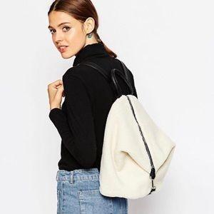 ASOS Faux Shearling Backpack W/ Dog Clip & Zipper